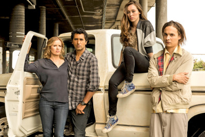 """Fear The Walking Dead"" Stars Kim Dickens, Cliff Curtis, Alycia Debnam-Carey and Frank Dillane. Photo copyright AMC"