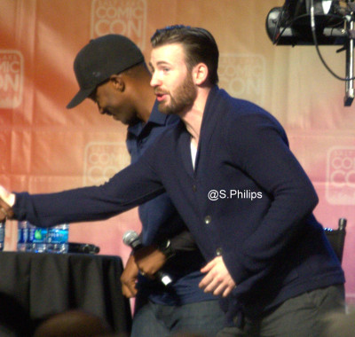 Anthony Mackie and Chris Evans,  Photo copyright Suzanne Philips