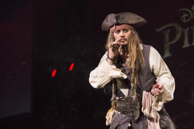 Johnny Depp as Captain Jack Sparrow at D23 Expo. Photo copyright Disney.