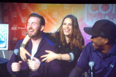 Chris Evans, Hayley Atwell and Anthony Mackie at Salt Lake City Comic Con.  Photo copyright Suzanne Philips